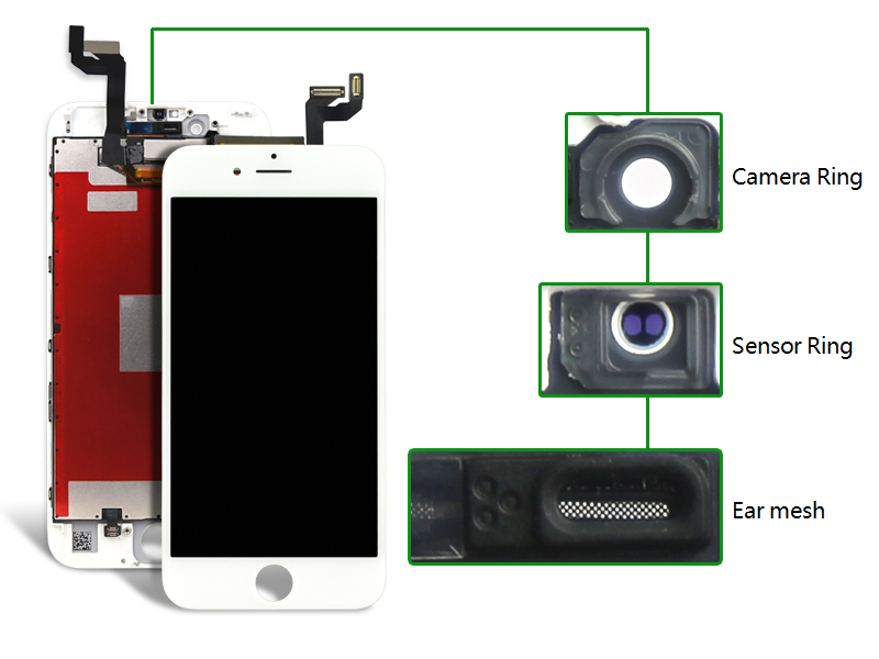 ФОТО 10pcs For Iphone 6s Lcd Screen Display With Warranty Assembly +AAA LCD+Camera Holder+Frame