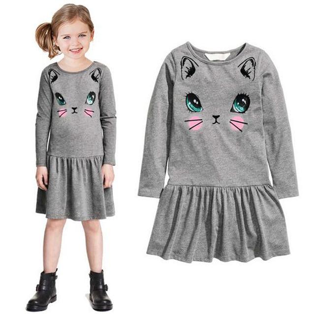 bbcef0150 Baby Girls Dress Cartoon Printed girl clothes Long Sleeve A line ...