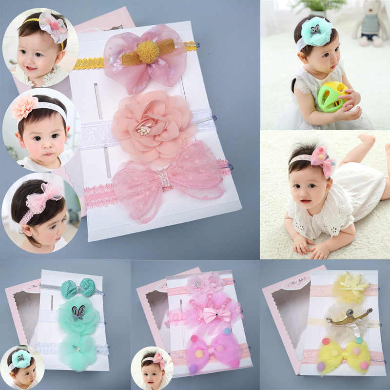 27 Types New Cute Female Baby Bow Headband Hair Band Children's Headwear Girls Three-piece Suit Gift Box