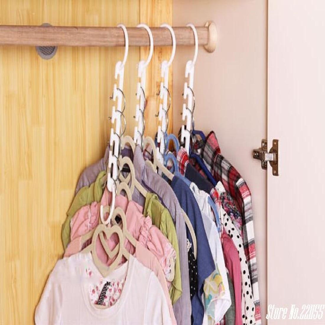 8Pcs/lot Clothes Hanger Rack Wardrobes Shop Closet Wardrobe Clothing Hooks Space Saver Home Organizer Set