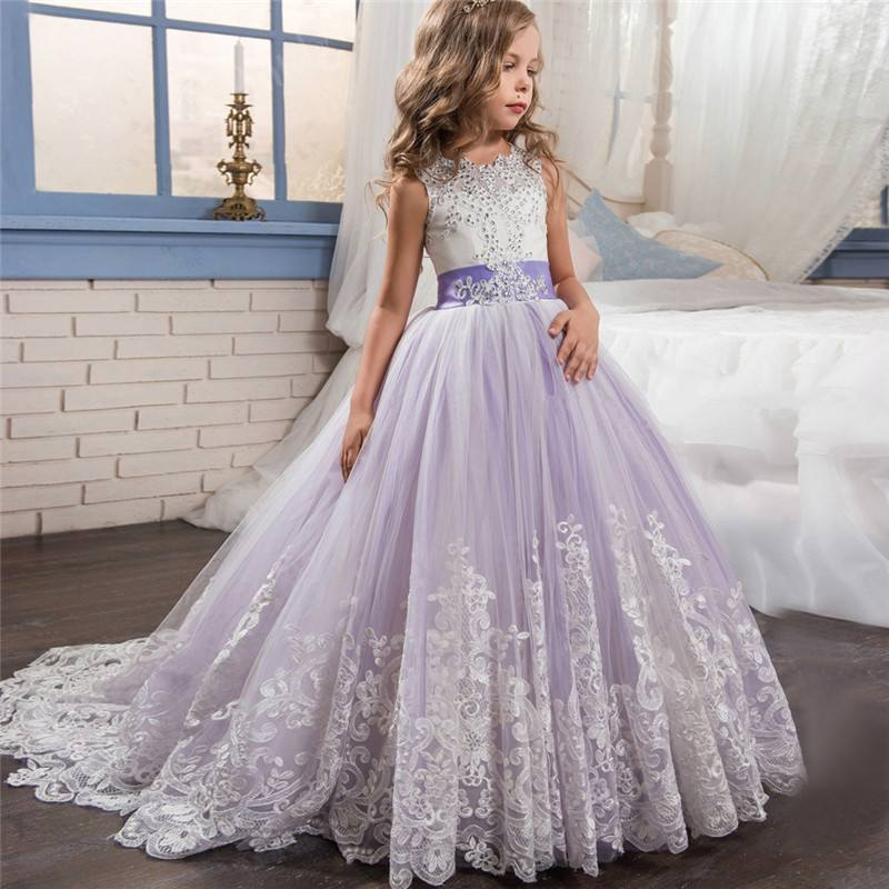 2019 Kids Girl Lace Mesh Princess Wedding Dress Children Clothes Formal Prom Gown Baby Girls Bead Xmas Party Trailing Dress Q9592019 Kids Girl Lace Mesh Princess Wedding Dress Children Clothes Formal Prom Gown Baby Girls Bead Xmas Party Trailing Dress Q959