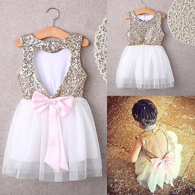 Girls Dress New Cute Sequins Princess Dress Baby Girls Summer Sleeveless Back Heart Hollow Out Cute Bow Tutu Party Dresses