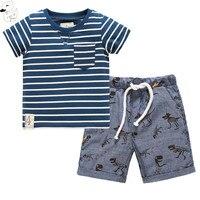 BINIDUCKLING 2017 Baby Boys Sets Summer Boys Sets Striped Clothes T Shirt Short Pants Dinosaur Cotton