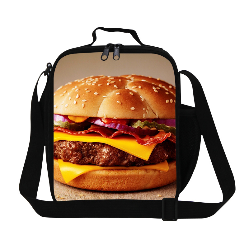 Personalized adults inner cooler lunch Bag,humbuger 3D print kids lunch container children crossbody Lunch box bag for school