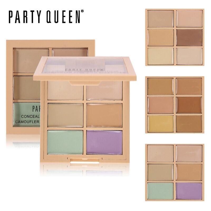 Party Queen 6Color Correcting Concealer Palette Contouring Highlighter Bronzer Makeup Skjutbar Blemish Pores Cream Contour Kit