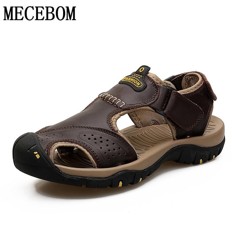 Sandalias de los hombres de cuero genuino de los hombres de la playa, sandalias de los hombres de la marca zapatos casuales zapatos de los hombres de verano Zapatos de gran tamaño 39-46 7238 M