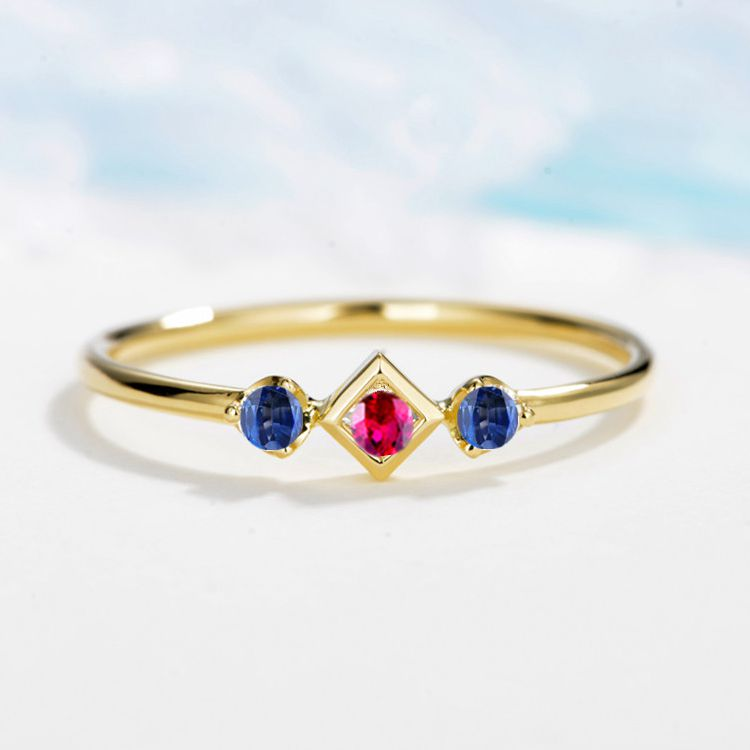 Solid 14k Yellow Gold Ring Natural Ruby Sapphires 3 Stones Engagement Ring For Women Wedding Band Fine Jewelry Classic