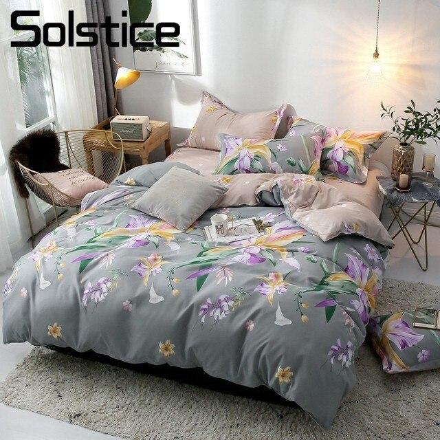 Solstice Home Textile Single Double King Bedding Linens Set Flower Woman Adult Teen Girls Duvet Cover Pillow Case Flat Bed Sheet