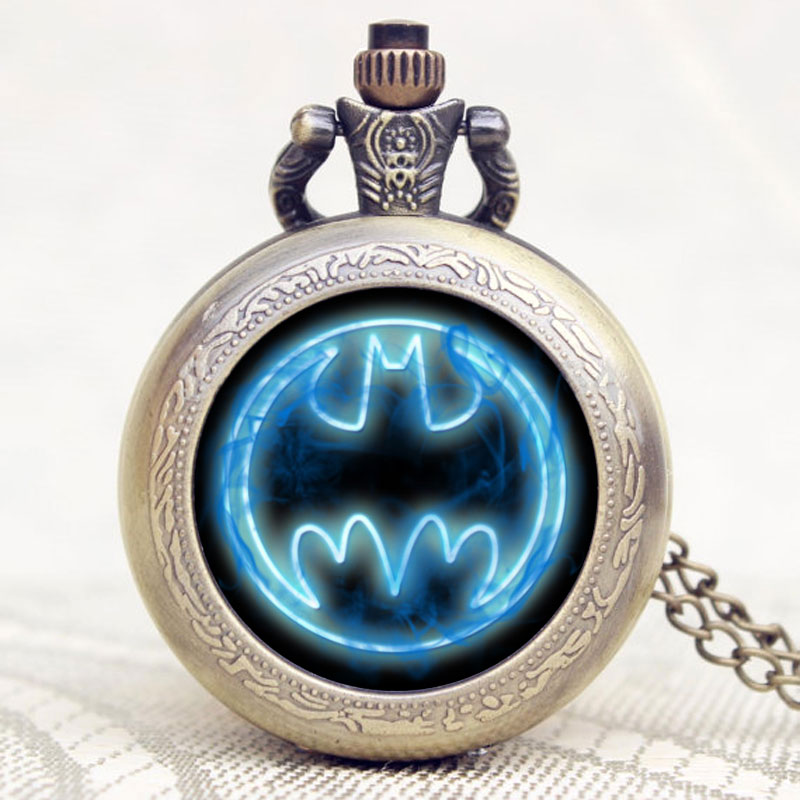 Retro Bronze Batman Style Fob Watch Top Quality Quartz Pocke Watch With Chain Necklace Gift