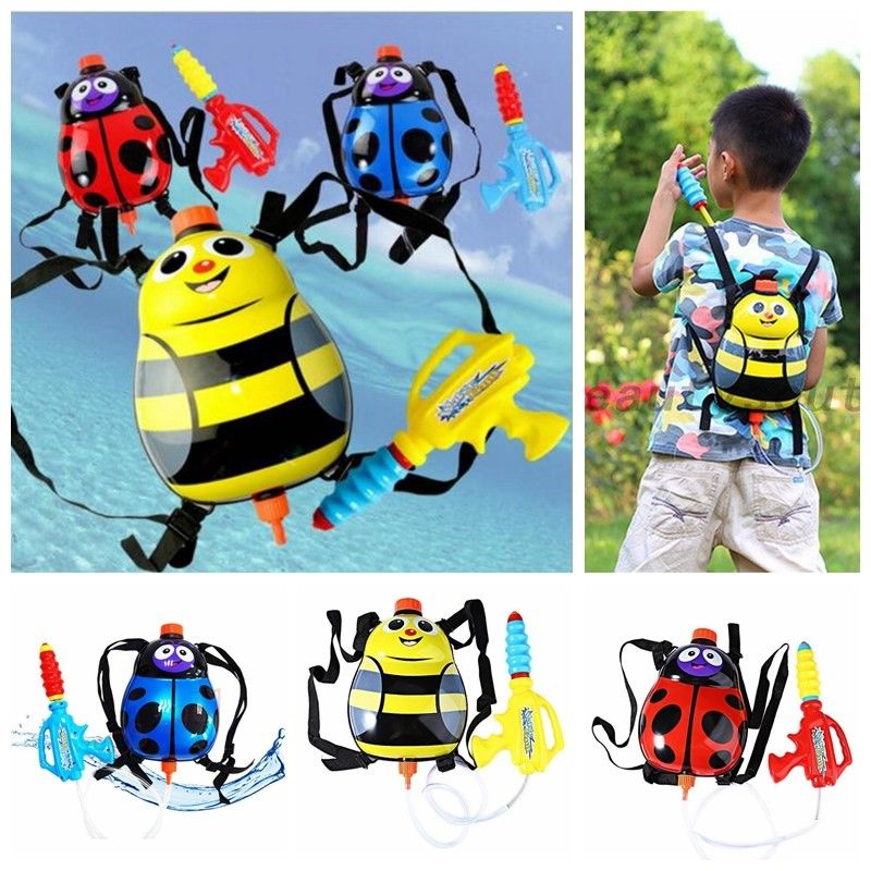 Ladybug Water Gun Toy Yellow Bee Insect Bag Backpack Red Blue Ladybugs Spot Swimwing Pool Outdoor Toys Gifts For Kid Boy Girl