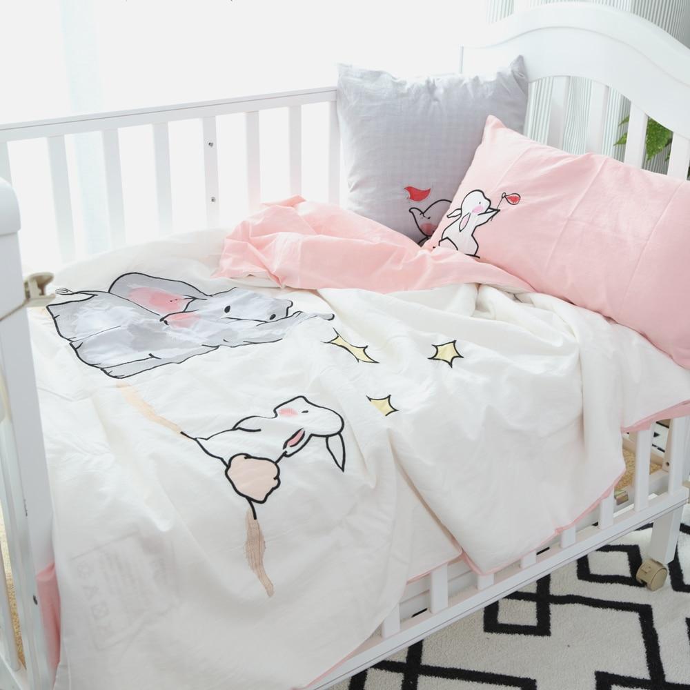 Baby bed linen set - Cotton Baby Bedding Set Elephant Rabbit Duvet Cover Pink Bed Sheet Pillowcase Girl Boy