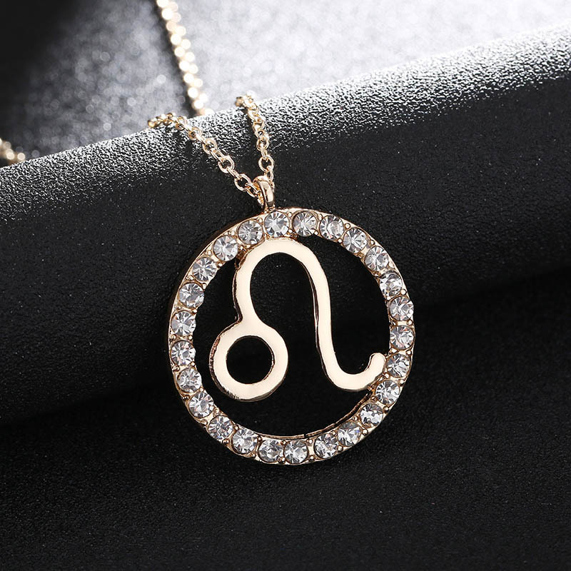 1 Pc Women Girls Pendant Necklace Crystal Zodiac Sign Necklaces 12 Constellation Jewelry Gifts M8694