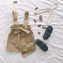 Юбка для девочек на весну и лето, комбинезон цвета хаки, юбки, хлопковая Асимметричная юбка, корейский стиль, От 1 до 7 лет