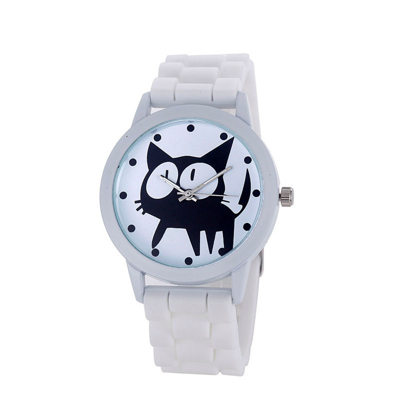 Candy Color Silicone Quartz-Watch Women's Cute Cat Dial Wristwatch Reloj Women Jelly Gel Casual Clocks Watch Relogio Feminino new fashion unisex women wristwatch quartz watch sports casual silicone reloj gifts relogio feminino clock digital watch orange
