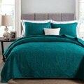Sólido blanco Beige verde color suave algodón 3 piezas ropa de cama conjunto reina tamaño bordado colcha acolchado sábanas Manta conjunto