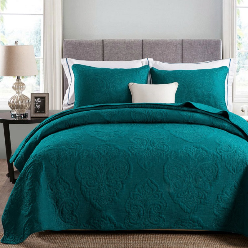 Solid White Beige Green Color Soft Cotton 3pcs Bedding Set Queen Size Embroidered Bedspread