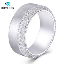 DovEggs Trendy Simplicity Sterling Solid 925 Silver 8mm Width Band 1.4 1.5mm Heart and Arrow Cut Moissanite Abbuversary Ring