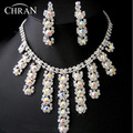 AB Rhinestone Rhodium Plated Wedding Party Jewelry Promotion Clear Crystal Fashion Costume Necklace Earrings Bridal Jewelry Sets