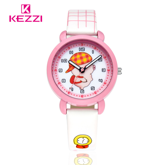 30M Kezzi Watch Leather Printing Children Watches Colorful Flower Kid Watches Bottle Cap 95 Car Fans Wristwatch Racing Trophy