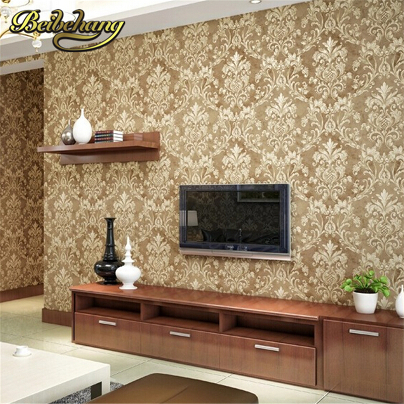 beibehang Non-woven wallpaper Luxury European Flocking Damask 3D Wall paper roll classic wall covering papel de parede listrado beibehang blue wallpaper non woven