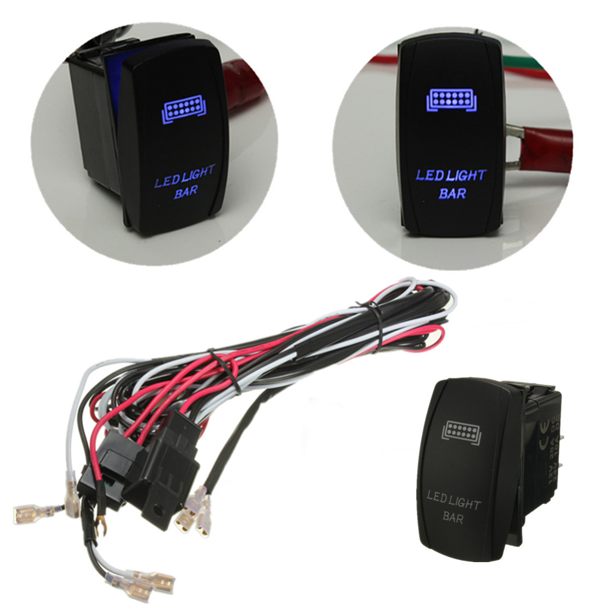 Detail Feedback Questions About 1 Set Blue Led Light Bar On Off Rocker Switch Also Wiring With Harness 40a Relay Fuse Sets Suv Atv Alibaba Group