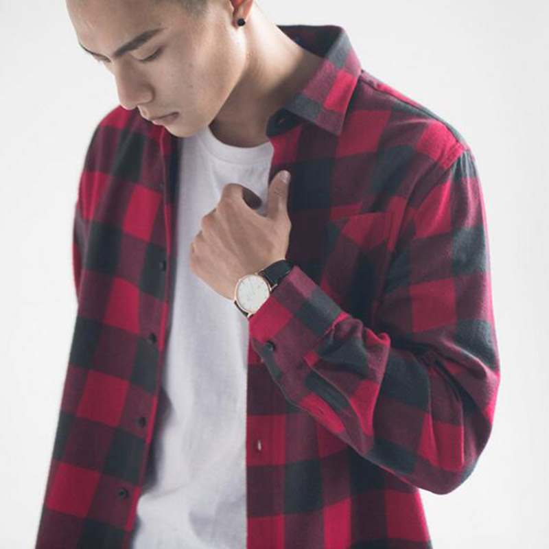 Ink Painting Turn Down Collar Long Sleeve Spring Autumn Shirt Slim Fit Tops Red XXL TRENTON Men Shirts