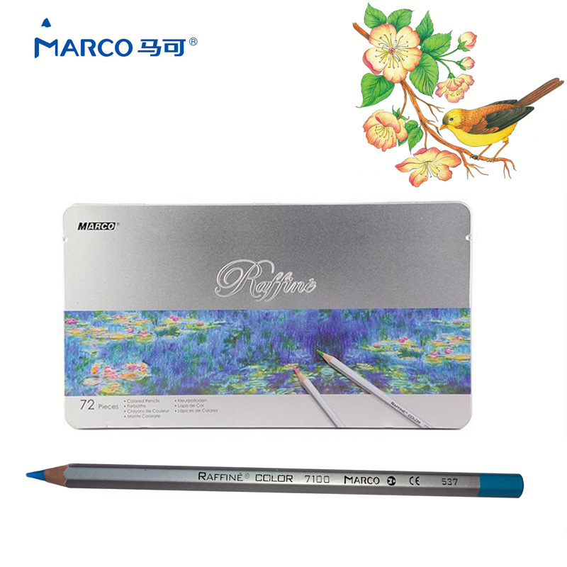 Marco Raffine 72 Colors Lapis De Cor Professional Oil Colored Pencil Set for Drawing Painting Sketch Tin Box Art School Supplies цена