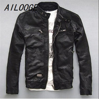 AILOOGE Factory Men Leather Jacket Genuine Sheep Goat Skin Brand Black Male Bomber Motorcycle Biker Man