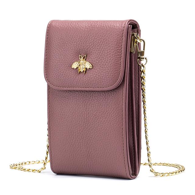Mini kabelka VČELA pravá koža 4farby Mini Messenger Leather Bag BEE 4colors
