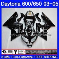 Body For Triumph Daytona600 Daytona 650 02 03 04 05 125HM.8 Daytona650 Daytona 600 Glossy black 2002 2003 2004 2005 Fairing kit