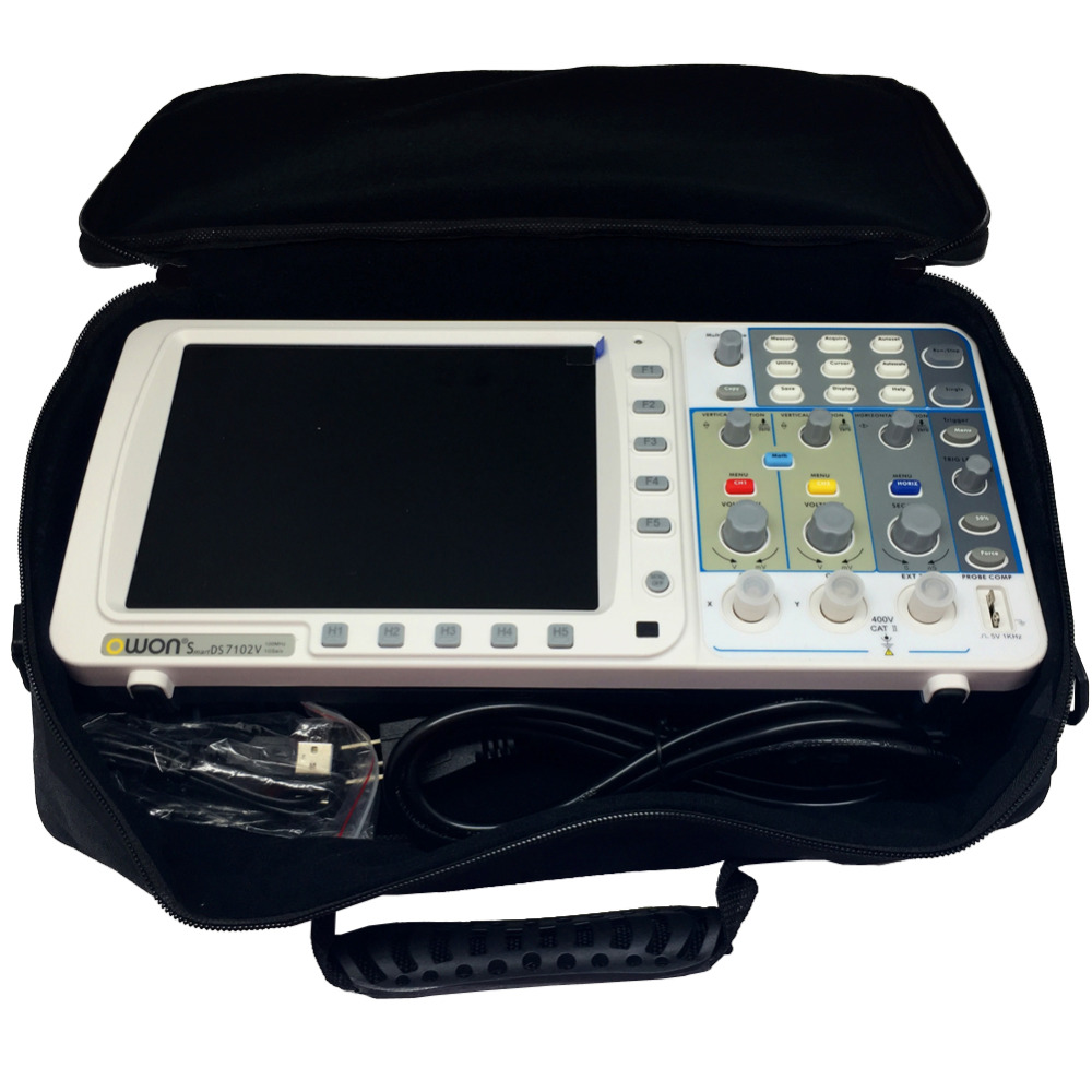 Nouvelle mince OWON 100 Mhz Oscilloscope SDS7102 1 G/s grand 8 LCD LAN + VGA + sac 3 ans warrantyAK77102V + SAC