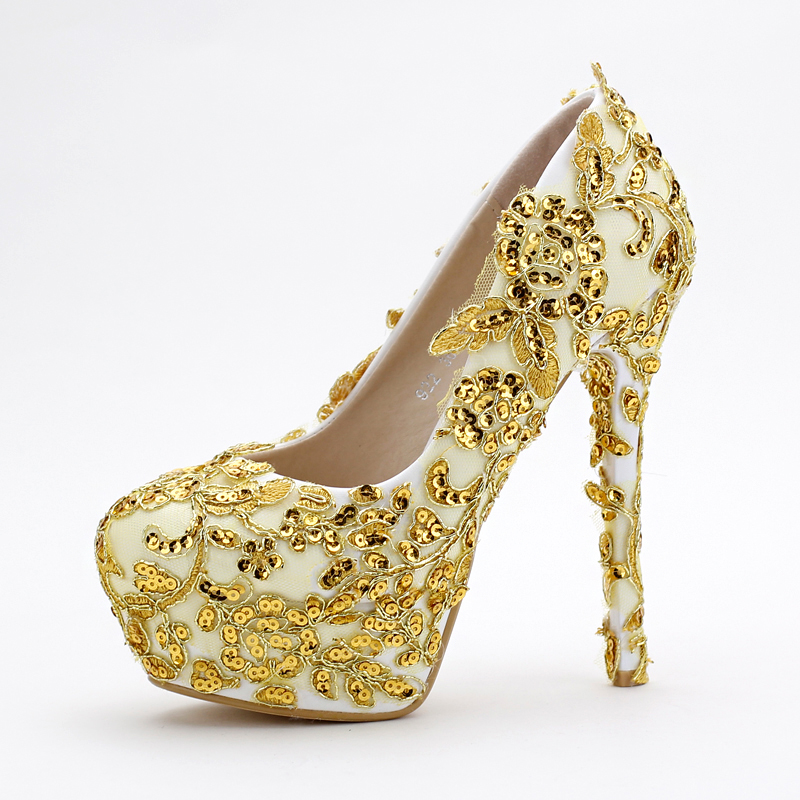 Women 39 s pumps wedding shoes gold color shoes glitter high for Gold dress shoes for wedding