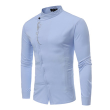Men Camisa Masculina Stand Collar Embroidery Pirnt Shirt Fit Slim Casual Business 2019 Male Clothing Gentleman Shirts