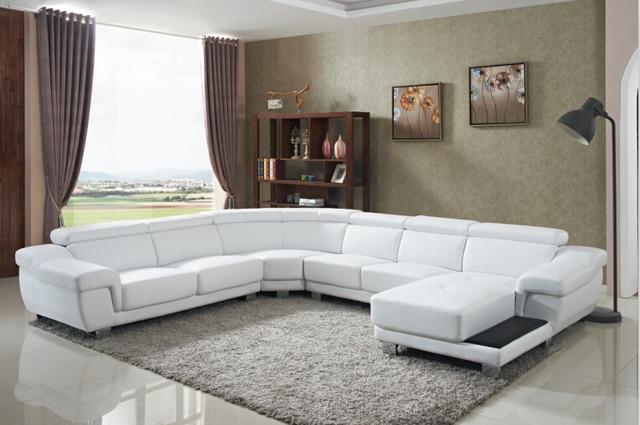 U Shaped Sofa Leather Off White Decorating Conjunto De Sofá Móveis Da Sala Com Grande Canto ...