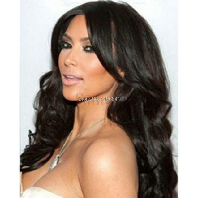 Kim Kardashian Long Black Curly Remy Hair Full Lace Wigs On
