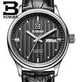 Schweiz uhren männer luxus marke Armbanduhren BINGER geschäfts Mechanische Armbanduhren lederband Wasser Widerstand B5006-5