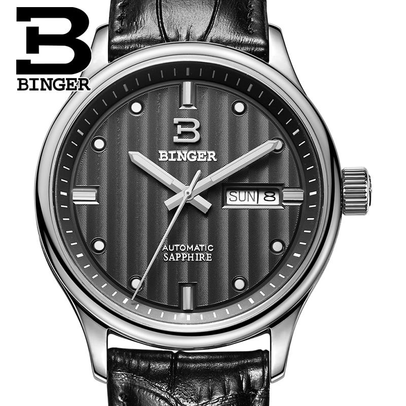 Switzerland watches men luxury brand Wristwatches BINGER business Mechanical Wristwatches leather strap Water Resistance B5006-5