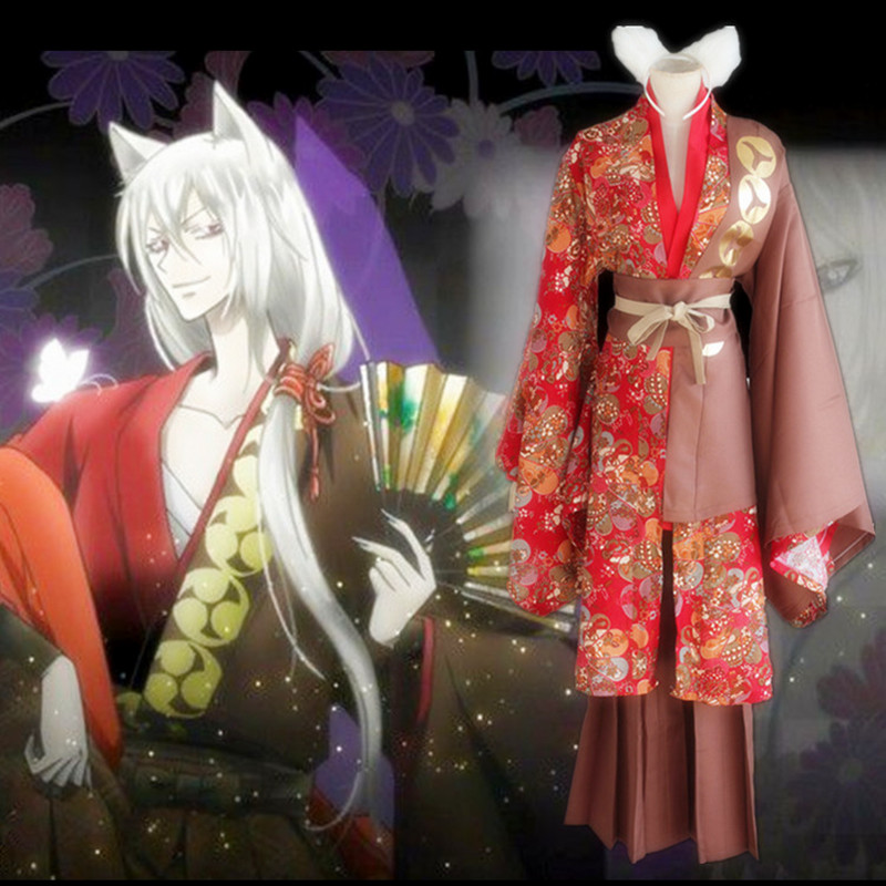 Tomoe cosplay costumes red print kimono Japanese anime Kamisama Love Kamisama Kiss clothing(Coat + underwear + belt+ears )