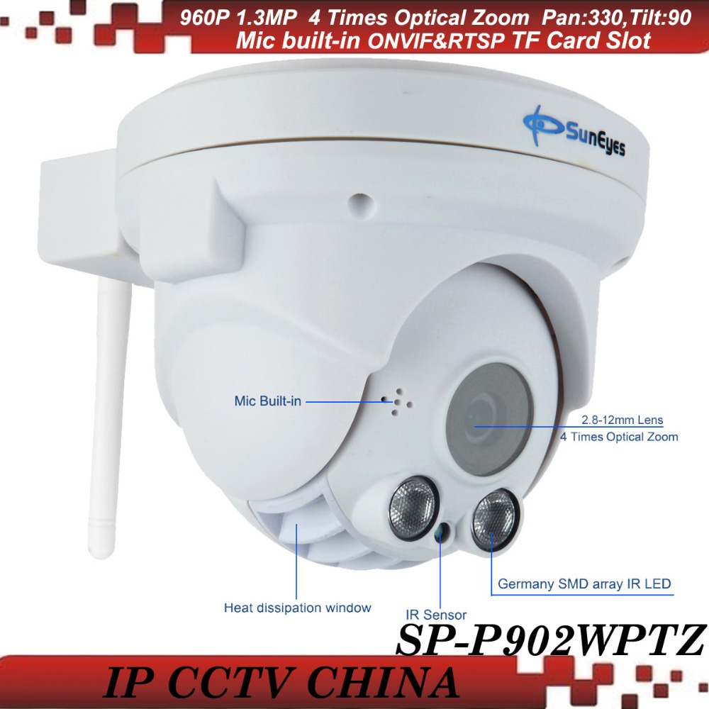 SunEyes SP-P902WPTZ ONVIF 960P HD Wireless PTZ Dome IP Camera with Pan Tilt Zoom TF/Micro SD Card Slot Array IR Smart Camera wanscam wireless ip camera hw0021 3x digital zoom pan tilt pt onvif p2p ir cut night vision security cam with tf card slot