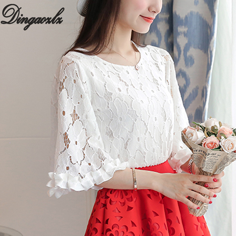 Dingaozlz 2019 Summer Lace Tops Flare Sleeve Crochet White Shirt Plus Size Clothing New Fashion Hollow Out Women Blouse Blusa