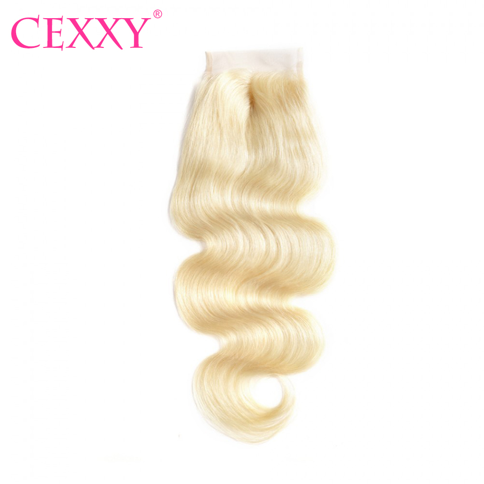 CEXXY Blonde 613 Lace Closure Brazilian Body Wave Remy Hair 100 Human Hair Middle Part 4
