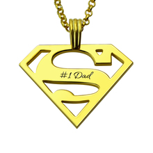 Superman Necklace Gold Color Personalized Superman Logo Necklace for Dad Mens' Superhero Jewelry