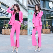 Women's suit female 2019 new style cardigan suit jacket horn split pants pure color office ladies OL two / piece suit