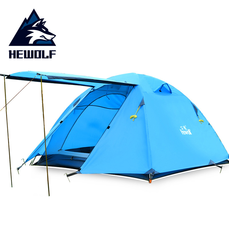 Hewolf New Arrival High Quality 3 Person Aluminum Poles Double Layer Waterproof Rainproof Windproof Camping Tent