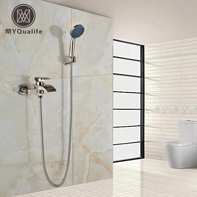 nickel bross cascade baignoire bec de bain douche mlangeur robinet mural mitigeur salle de bains robinet - Mitigeur Mural Salle De Bain