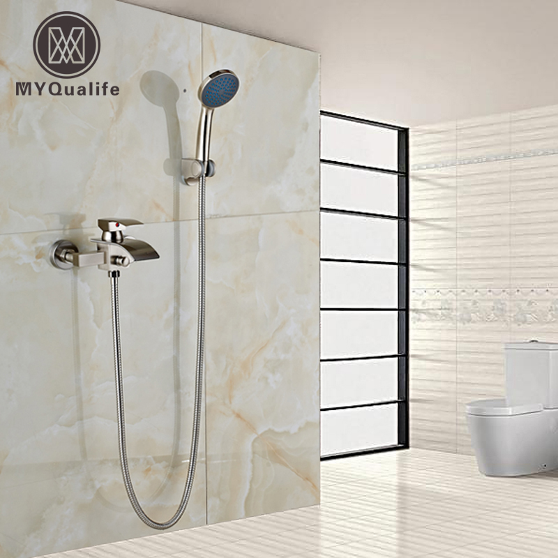 Nickel Brushed Waterfall Tub Spout Bath Shower Mixer Faucet  Wall Mounted Single Handle Bathroom Shower Faucet with Handshower free shipping polished chrome finish new wall mounted waterfall bathroom bathtub handheld shower tap mixer faucet yt 5333
