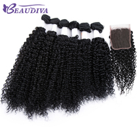 Peruvian Curly Hair Bundles With Closure 4 4 Lace Free Part Kinky Curly Human Hair Weave