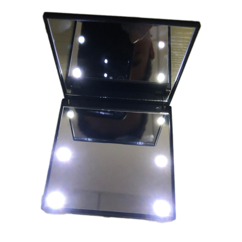 2019 1PC Fashion Women Ladies Make Up Mirror Cosmetic Folding Portable Compact Pocket with 6 LED Lights Makeup Tool Best Gift