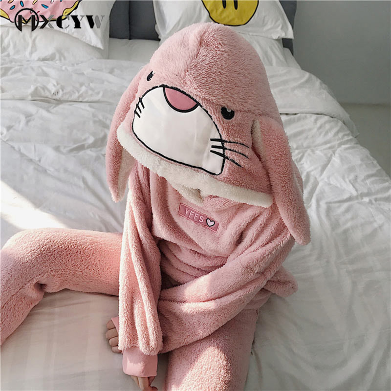 Autumn WomenS Pajamas Casual Coral Velvet Long Ears Bunnies Homewear Cute Cartoon Hooded Home Suit loose Home Clothes For Women