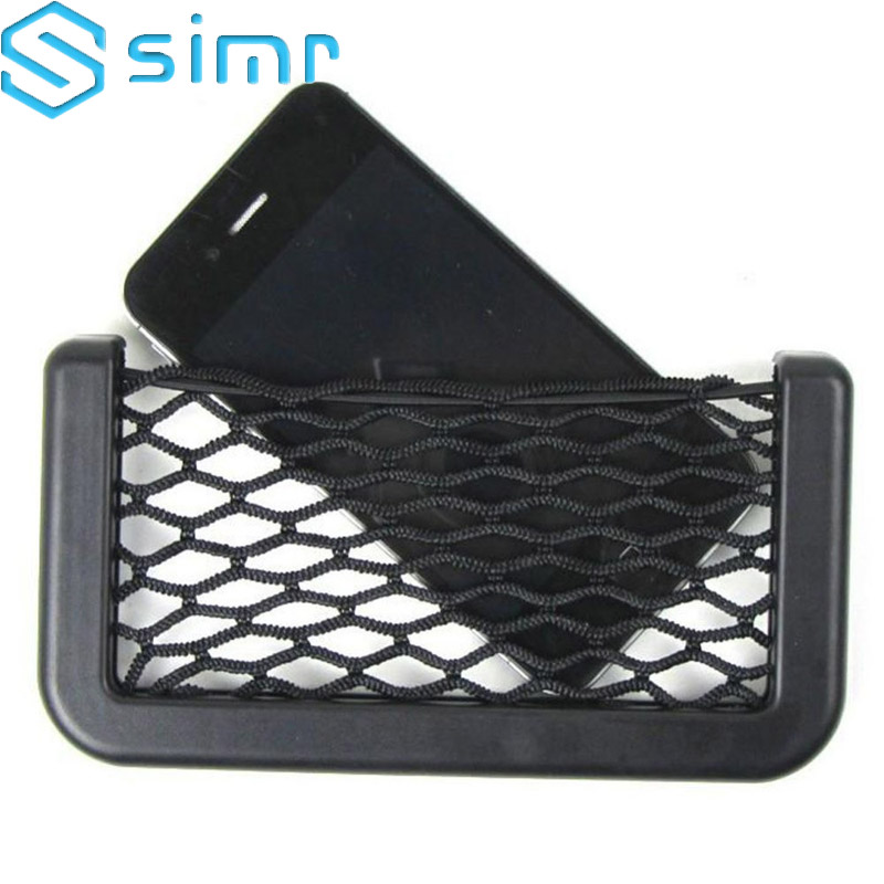 Viechle Door Organizer Back Seat cellphone Stand sticky Holder Pocket Wall Net Bag Black